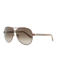 Jimmy Choo Lexi Aviator Sunglasses With Crystal Temples Bronze