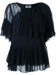 Muveil Layered Frill Blouse Blue