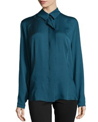 Escada Pleated Center Blouse Peacock
