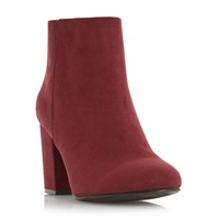 Head Over Heels Olive Block Heel Ankle Boots Berry
