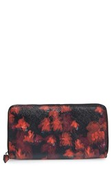 Givenchy Women's Floral Print Zip Around Calfskin Leather Wallet Red Red Multi