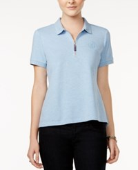 Tommy Hilfiger Zip Up Polo Top Only At Macy's Chambray Blue