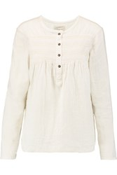 Current Elliott The Retreat Smocked Cotton Gauze Top Off White