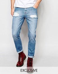 Brooklyn Supply Co. Brooklyn Supply Co Straight Jeans Extreme Distressing Light Stonewash Light Stonewash Blue