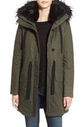 French Connection Women's Hooded Parka With Faux Fur Trim Russian Pine