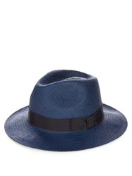 Orlebar Brown Piers Straw Panama Hat Navy