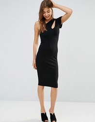 Oh My Love Asymmetric Midi Dress With Cut Out Shoulder Black