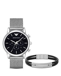 Emporio Armani Mesh Chronograph Watch 46Mm And Bracelet Set Black