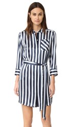 Atm Anthony Thomas Melillo Striped Shirtdress Midnight Blue White