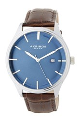 Akribos Xxiv Men's Radiant Dial Croc Embossed Leather Strap Watch Brown