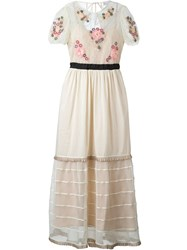 Red Valentino Floral Embellished Flared Long Dress Nude And Neutrals