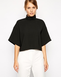 Asos Boxy Crop Top With Kimono Sleeve And High Neck Black