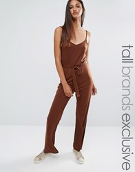 One Day Tall Wrap Front Cami Strap Jumpsuit Chocolate Brown