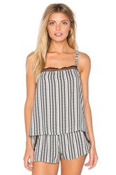 Only Hearts Club Railroad Stripe Square Neck Cami Black And White