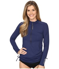 Carve Designs Cruz Rash Guard Anchor Multi Women's Swimwear Navy
