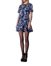 Cynthia Rowley Printed A Line Dress Black Lilac