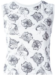 Saint Laurent Tiger Print Tank Top White