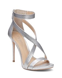 Imagine Vince Camuto Devin Lizard Embossed High Heel Ankle Strap Sandals Platinum