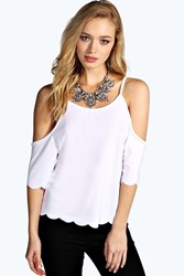Boohoo Open Shoulder Scallop Edge Top White