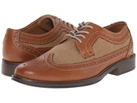 Dockers Hathaway Tan British Tan Distressed Burnished Full Grain Canvas Men's Lace Up Wing Tip Shoes Brown