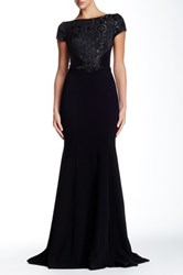 Theia Geometric Jacquard Bodice Crepe Skirt Gown Black