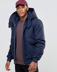 Asos Hooded Jacket With Borg Lined Hood In Navy Navy