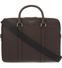 Hugo Boss Signature Textured Leather Briefcase Dark Red