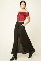 Forever 21 Contemporary Layer Maxi Skirt Black
