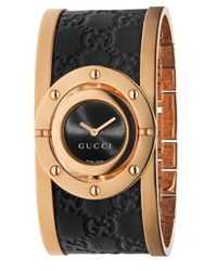 Gucci Twirl Pink Goldtone Pvd Stainless Steel And Leather Bangle Bracelet Watch