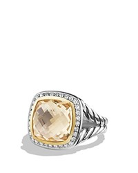 David Yurman Albion Ring With Champagne Citrine And Diamonds With 18K Gold Yellow Silver