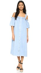 Sjyp Denim Off Shoulder Dress Light Blue