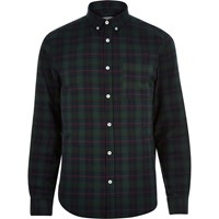 River Island Mens Green Check Brushed Flannel Shirt