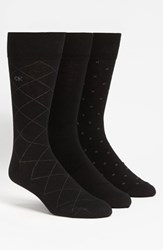 Calvin Klein Men's Patterned Socks Black