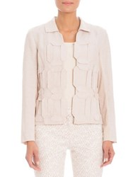 Nic Zoe Appliqued Stretch Linen Jacket Brown