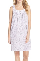 Eileen West 'Meadow' Cotton Short Nightgown White Ground Pink Ditsy
