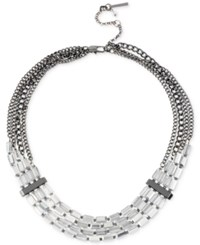 Kenneth Cole Hematite Tone Clear Bead Collar Necklace