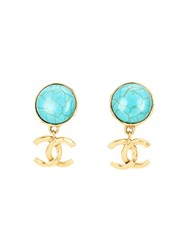 Chanel Vintage Logo Pendant Earrings Blue