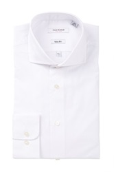 Isaac Mizrahi White Label Solid Long Sleeve Button Front Dress Shirt
