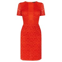 Warehouse Short Sleeve Panel Lace Dress Coral