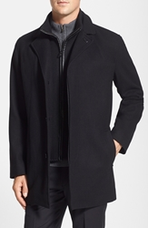 Cole Haan Wool Blend Top Coat With Inset Knit Bib Black