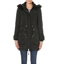 Warehouse Quilted Sleeve Fur Hooded Parka Coat Black