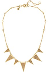 J.Crew Triangle Gold Plated Crystal And Calcite Necklace Metallic