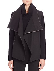 Vince Leather Trim Draped Vest Black