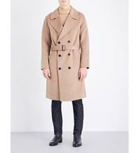 Sandro Romance Wool And Cashmere Blend Coat Beige