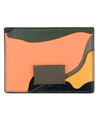 Valentino Camouflage Leather Cardholder Peach Dark Green Black Yellow