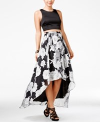 Sequin Hearts Juniors' Printed High Low Two Piece A Line Dress Black Grey