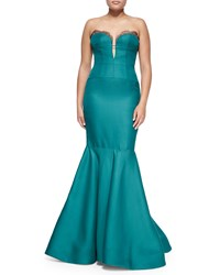 J. Mendel Strapless Bustier Mermaid Gown Emerald Green