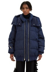 Stella Mccartney Mietta Oversized Denim Quilted Coat Navy