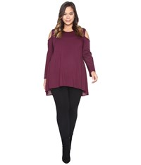 Vince Camuto Plus Size Long Sleeve Mix Media Cold Shoulder Top Cabernet Women's Clothing Burgundy