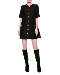 Dolce And Gabbana Short Sleeve Button Front Shift Dress Black Nero